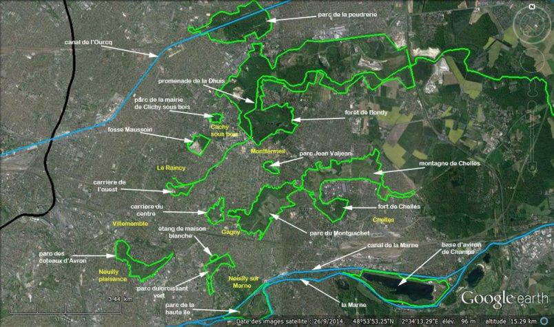 carte des espaces naturels de notre territoire